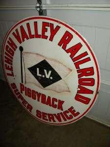 RR LEHIGH VALLEY RAILROAD Porcelain Piggyback Super Service SIGN