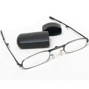 Folding Reading Glasses Gun Metal Gray Frame with Black Flip Top