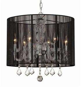 Black Drum Crystal 6 Light Ceiling Chandelier Pendant Lighting Fixture