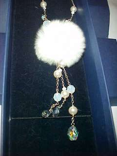 SWAROVSKI SILVER WHITE RABBIT FUR OPAL CRYSTAL AB PEARL CHAIN NECKLACE