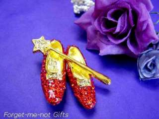 RUBY SLIPPERS BROOCH Red Shoes & Glinda Wand w Crystals