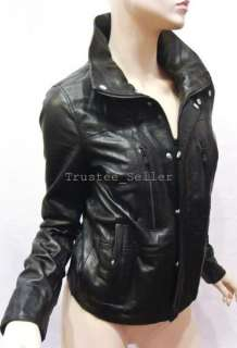 Brand Women Black Lemmury Gianna Biker Soft Lamb Leather Jacket