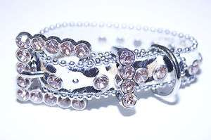 Leather, Faux Fur, Leopard Animal Print Rhinestone Dog Collar