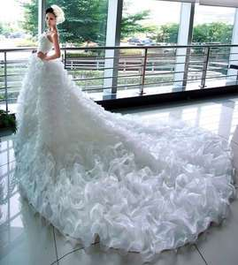 SZ white/ivory empire line crystals wedding bridal dress long train