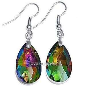 Rainbow Teardrop Crystal Glass Earrings
