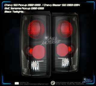 82 93 CHEVY S10/BLAZER BLK REAR BRAKE TAIL LIGHTS LAMPS