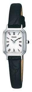 Pulsar Ladies Oblong Watch On Black Leather Strap PJ5393X1