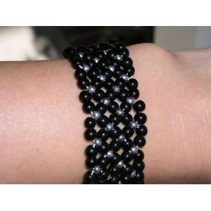 Black and silver beads charm Bracelet