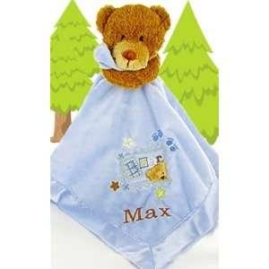 Personalized Blanket Buddy Teddy Bear Blue Baby