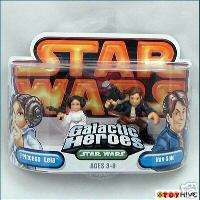 Star Wars Galactic Heroes Princess Leia and Han Solo   worn packaging