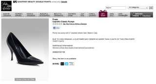 NEW PRADA Capretto Patent Leather Pointed Fla Black Pump Heel $620 40
