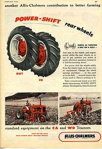 1952 Allis Chalmers AC Power Shift Real Wheels CA & WD Farm Tractor Ad