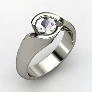 Enfold Ring, Round Rock Crystal 14K White Gold Ring