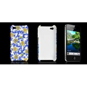 Gino Blue Yellow Flower Design Plastic Back Case for