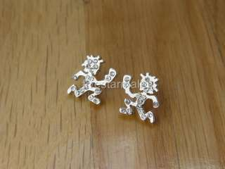 ICP Hatchet Man Silver Rhinestone Stud Pair Earrings
