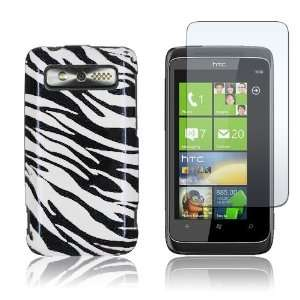 HTC 7 Trophy T8686   Black/White Zebra Design Hard Plastic