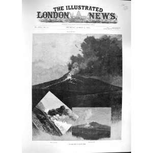 1892 ERUPTION MOUNT ETNA VOLCANO MOUNTAIN FINE ART