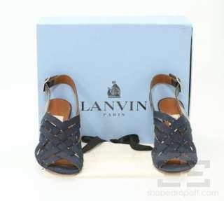 Lanvin Ete 2009 Dark Blue Denim Jean Sandal Heels Size 39, NEW