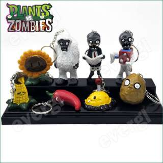 New Plants Vs Zombies Funny Action Figure Toy 8PCS Set Rare 1.5 3
