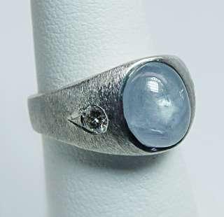 Vintage 3.8ct Star Sapphire Diamond Man Ring 14K White Gold Heavy