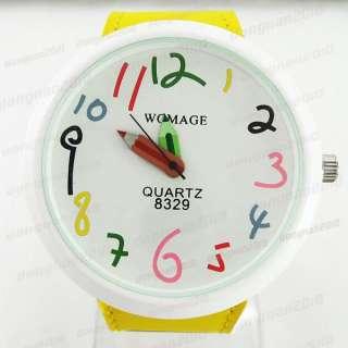 Pointer Quartz Leather Wristband Wrist Watch Round Lady Girls