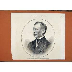 C1876 Portrait Sir James Ingham Chief Magistrate Print