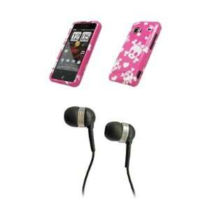 HTC Droid Incredible Premium Pink and White Bow Skull Design Snap on