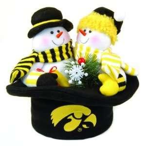 12 NCAA Iowa Hawkeyes Plush Snowmen Top Hat Christmas