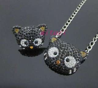 XL HELLO KITTY CHOCOCAT black crystal Chain Necklace & Ring Set Xmas