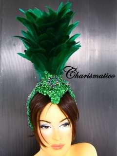 GREEN Drag Queen CABARET Brazilian Feather HEADDRESS