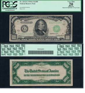THOUSAND DOLLAR BILL FEDERAL RESERVE NOTE FRN PCGS GRADED MONEY