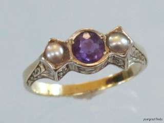 ANTIQUE VICTORIAN 14K YELLOW GOLD AMETHYST & NATURAL PEARL RING