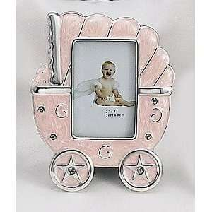 PINK or BLUE BABY CARRIAGE FRAME   SILVER AND ENAMEL BABY