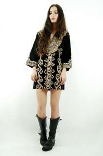 70s Black VELVET Gold EMBROIDERED Boho Hippie FESTIVAL Mini Dress S/M