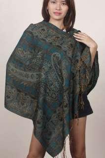 DARK GREEN Pashmina Cashmere shawl scarf wrap Thai Silk