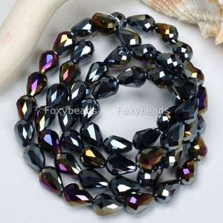 8x13mm AB BLACK Crystal Glass Teardrop Faceted Bead 27