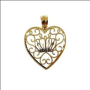 Yellow Gold, Heart with Tiara Crown Pendant Charm 22mm WIde Jewelry