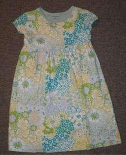 Lands End Short Sleeve Day Dress girl 5 EUC Green & Blue