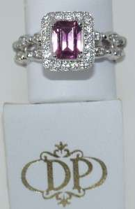 DORIS PANOS 18 KT. WHITE GOLD DIAMOND & PINK TOURMALINE RING
