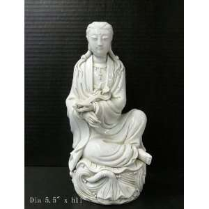 White Porcelain Sitting Kwan Yin Lotus Statue Home & Kitchen
