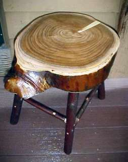 folk art LOCUST/Hickory COFFEE/END TABLE/STOOL~rustic log home