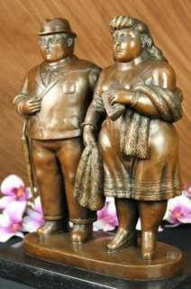 Signed Botero Couple Walking Bronze Sculpture Statue Figurine Figure