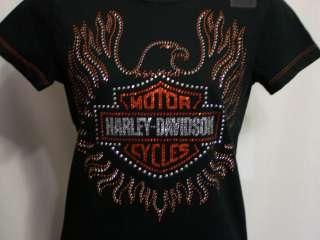 NWT New Ladies Harley Davidson S Bling Tee Shirt Rhinestone Logo
