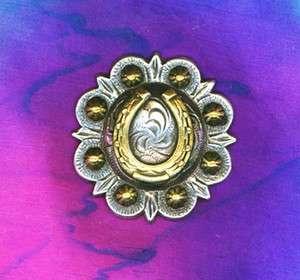 Western Decor Silver/Gold Horseshoe 1 1/4 Conchos (6)