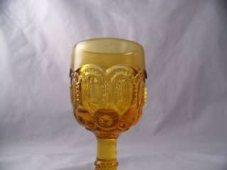 SMITH GLASS MOON AND STAR AMBER 3 OZ. WINE GLASS