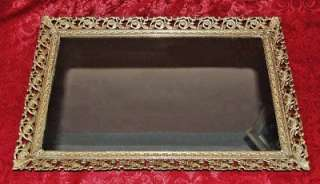Vintage Vanity Dresser Tray Ormolu Filigree Stamped Metal Mirrored