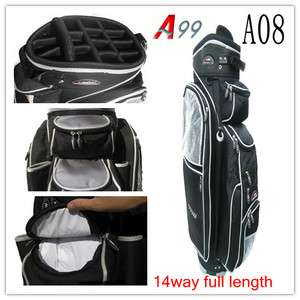 14 Way Full Length Dividers Sports Cart Bag A08 full length Black