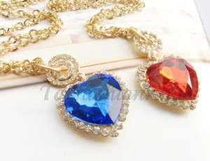 TITANIC heart of ocean blue crystal necklace pendant