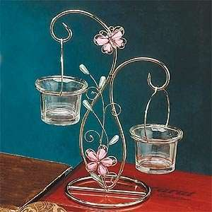 Butterfly Pink 2 Candle Holder Tealight w Stand 9in H