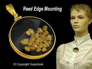 PENDANT 14k Large Gold Filled Bezel Blk Ce ~ NUGGETS